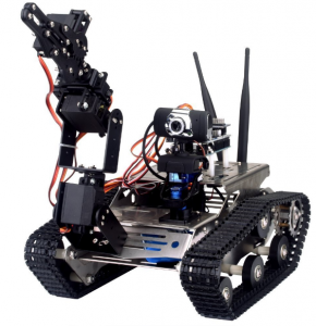 robot con braccio programmabile e telecamera